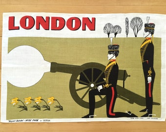 Tea Towel Vintage London Royal Guards Cannon Boys Bedroom Wall Hanging Poster