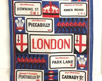 Vintage Tea Towel London Street Signs Red White Blue Wall Hanging