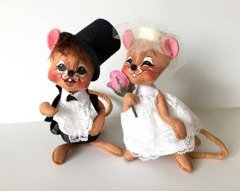 Annalee Dolls Wedding Figurines Bride Groom 1994 Love Marriage