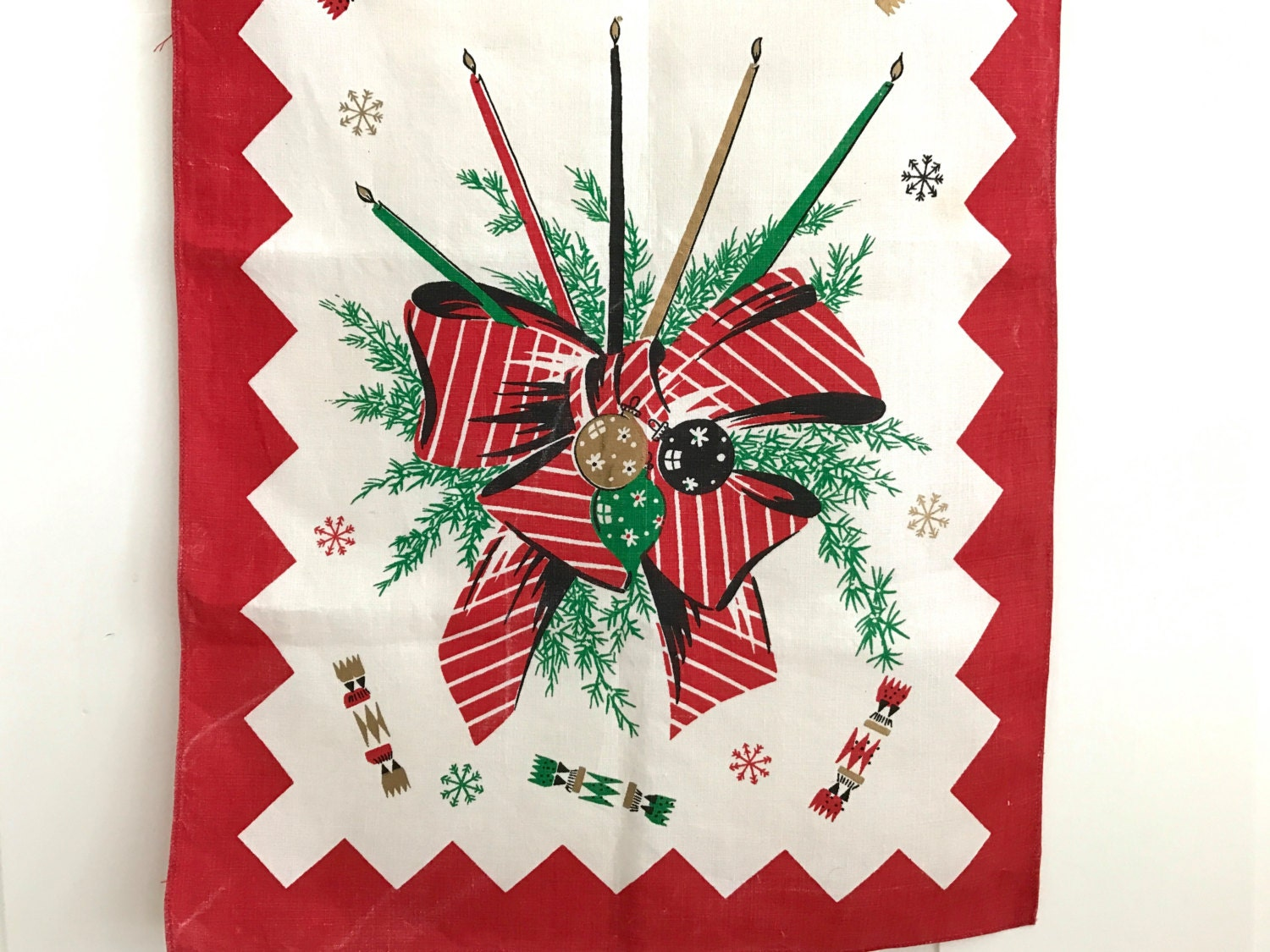 Vintage Christmas Table Runner Mid Century Candles Evergreen