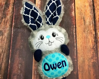 Personalized Plush Easter Bunny / Gray Navy Aqua / 2 Sizes / Happy Easter or Name on Tummy