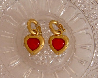 Givenchy red Heart Earrings w/ rhinestones clip/dangle Stunning