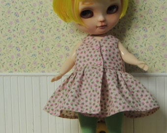 Pink Strawberry Wrap Dress and Tights Leggings for Plus-sized Blythe Mimi Doll