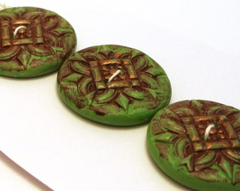 Large Round Buttons Handmade Polymer Clay 27mm