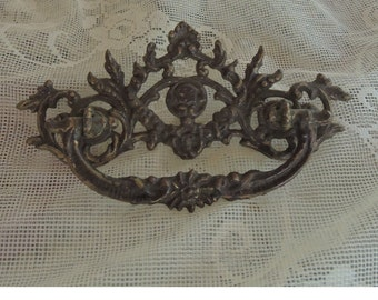 Large Solid Brass Victorian Drawer Pull - Home Decor, Jewelry Making - Eastlake Style