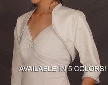 Satin bridal bolero jacket wedding shrug 3/4 sleeve trimmed SBA128 AVAILABLE in 5 Colors white, ivory, champagne, navy blue, black