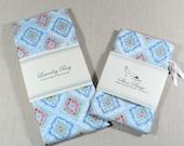 Travel Bags, Gift Set, Laundry Bag, Shoe Bags, Blue tile pattern, cotton, Ready To Ship, Lingerie Bag