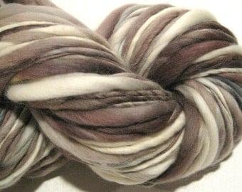 Handspun Yarn Snow Queen 140 yards brown yarn white yarn purple yarn merino wool knitting supplies  waldorf doll hair knitting supplies