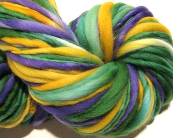 Super Bulky Handspun Yarn Johnny Jump Up 124 yards hand dyed wool purple green yellow waldorf doll hair knitting supplies crochet supplies