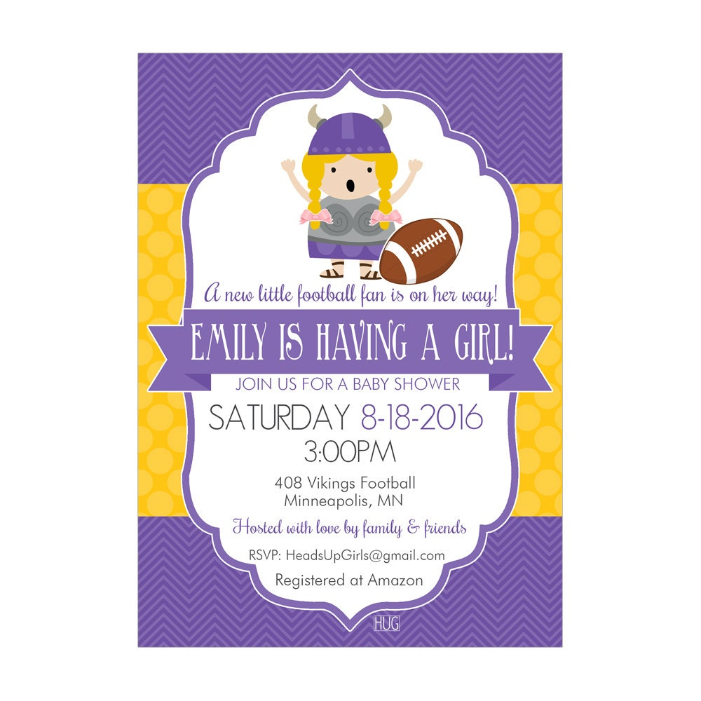 Personalized Minnesota Vikings Football Baby Shower Invitations and ...