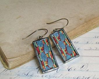 Antique Ribbon Trim Earrings  Long Drop Glass Jewelry Blue