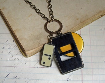Vintage Charm Necklace Black Buckle, Bakelite Disc and Mini Domino