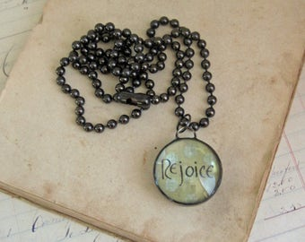 Rejoice Hand Lettered Pendant Inspirational Soldered Jewelry