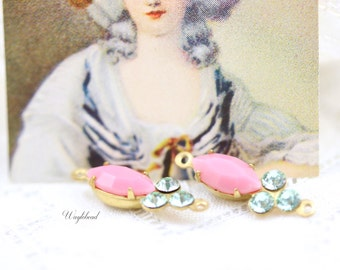 Pink & Chrysolite 18x7mm Vintage Rhinestone Navette Set Stones and Swarovski Crystals Connector Earring Drops - 2