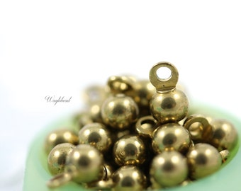 Small Vintage Raw Brass Round Drops 4mm Jewelry Finding Dangles - 20
