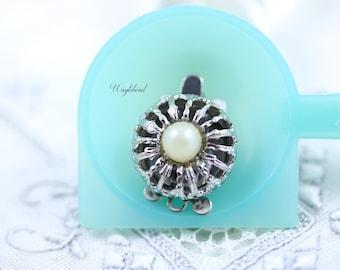 One Strand Vintage Filigree Pearl Box Clasp - 1 pc