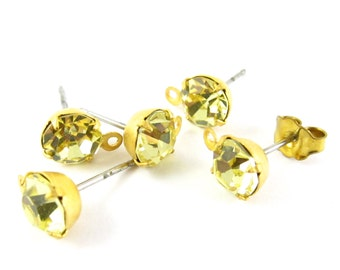 2 pcs - Gold Plated Swarovski Crystal Earring Posts with Loop Rhinestone Ear Studs Earring Finding Round 6.5mm - Jonquil
