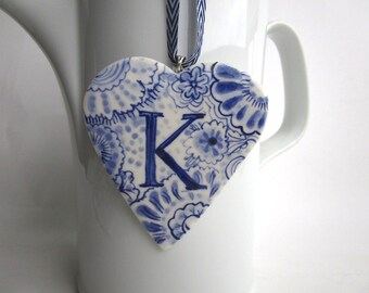 initial K - Captal K -Monogram - Hand painted porcelain  Heart -  Blue and white Delftware ornament