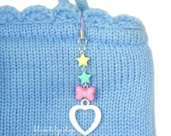 Pastel Charm Heart Stars Planner Charm Bag Fairy Kei Sweet Lolita Kawaii Cell Phone Charm