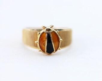 Vintage Yellow Ladybug Ring - Size 4