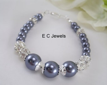 Pearl and Rhinestone Bridesmaids Bracelet - Pick your Color