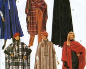 McCalls 8936 UNCUT Hooded Cape, Poncho Wrap Coat Sewing Pattern One Size fits 6-20