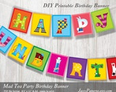 Printable banner Alice in Wonderland party. Happy Unbirthday phrase. Illustrated letters in bold colors. Instant download (PP005)