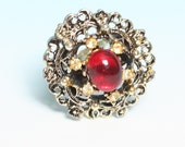 Red Glass Stone Ring Yellow Rhinestones Adjustable Vintage