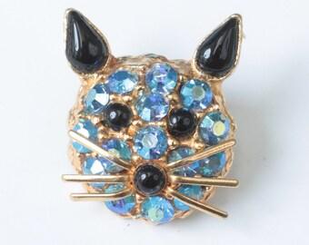 Blue AB Rhinestone Kitty Cat Pin Brooch Designer Vintage