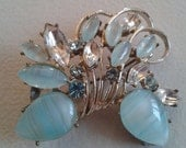 Brooch or Pendant - Silver Colored with Aqua Blue Stone in a Floral Arrangement