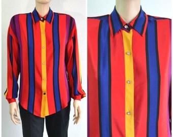 Striped 80s Vintage Silk Blouse Ellen Tracy Shirt Rhinestone Buttons Oversize Top small medium