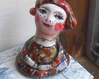 Original art mini sculpture Little lady with color dots painted on paper clayOOAK by miliaart studio