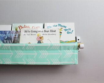 Book Sling - Mint Arrow Wall Organizer - Choose your size