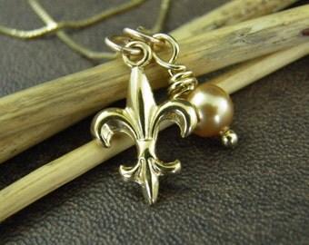 Gold Fleur De Lis Necklace - Fleur De Lis Jewelry