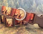 Deer in the Forest Dog Collar, In M, L, XL, Metal Buckle Upgrade Available