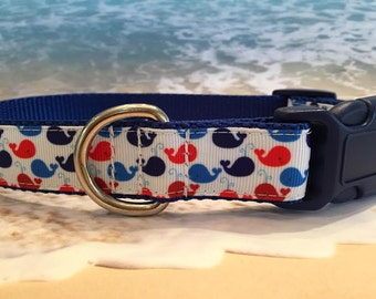 Tiny Whales Dog Collar, Sizes M, L, XL Red, White and Blue