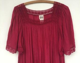 SALE Vintage 70s Gauze Maxi Hippie Dress Flutter Sleeves M/L