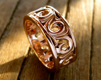 Wide Wedding Band in 14K Rose Gold with Scrolls and Glossy Finish Size 5
