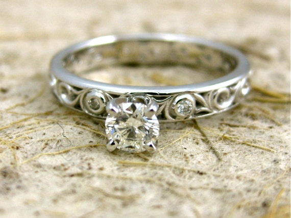Diamond Engagement Ring in 14K White Gold with Scroll Pattern and 4 Prong Setting Size 6