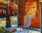 Original Art  Print, Bowie Portrait on Brick Wall, London Cafe at Night from Original Painting Dare to Be Different - by k Madison Moore