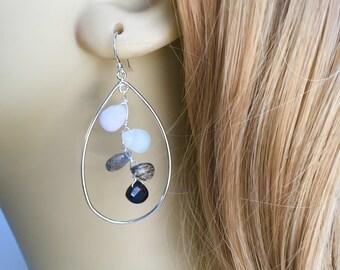 Gemstone Leaf Earrings, Black and White Cluster Earrings, Sterling Leaf Frame and Cascading Gemstones