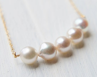 Japanese Akoya Necklace, Simple Minimal Necklace, Salt Water Pearl, White Baroque Pearl Necklace, Wedding Bridal