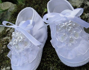 Baby GIRL booties Christening white lace and beaded applique wedding first trip home