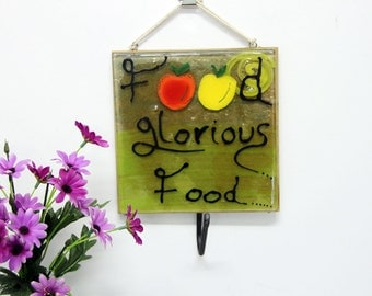 Food glorous food blessing  kitchen towel hook, Wall  Holder Display Rack, Accessories, Decor, Gift  Home, Housewarming Gift, Wedding Gift