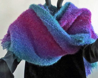 RUANA Triangular  Handwoven Loop Mohair, Jewel Colors ruby, amethyst, sapphire, and emerald.  Soft,Glamorous and Warm