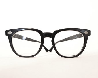 Black Wayfarer-Style Eye Frames / Bigger Eyeglasses/ Mad Men Sunglasses Titmus Optical Logo Eye Frame Arnel Style