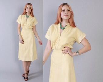 Vintage 70s DRESS Set / 1970s Buttery Soft Deerskin Top & Wrap Skirt XS - S