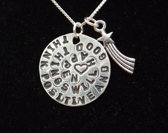 Think Positive and Good Things Will Happen necklace, Positive Attitude necklace, Inspirational jewelry, Positivity jewelry, Good Attitude