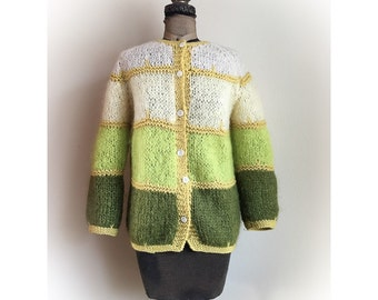 Vintage Late 1960's Green Cardigan
