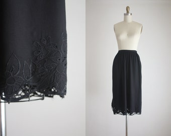 black cutwork midi skirt